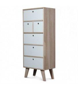 Table de chevet bois clair et blanc 2 tiroirs for Meuble 2 tiroirs 60 cm woodstock bois clair