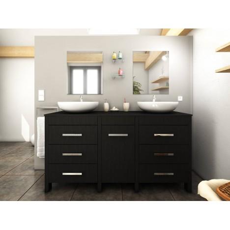 Meuble salle de bain bois noir 2 vasques 2 miroirs roma - Miroir salle de bain noir ...