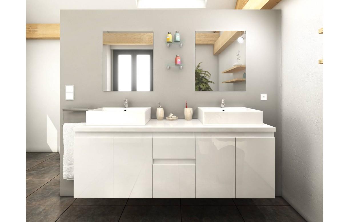 Meuble de salle de bain blanc 4 portes 2 tiroirs 2 vasques - Meuble miroir salle de bain ...