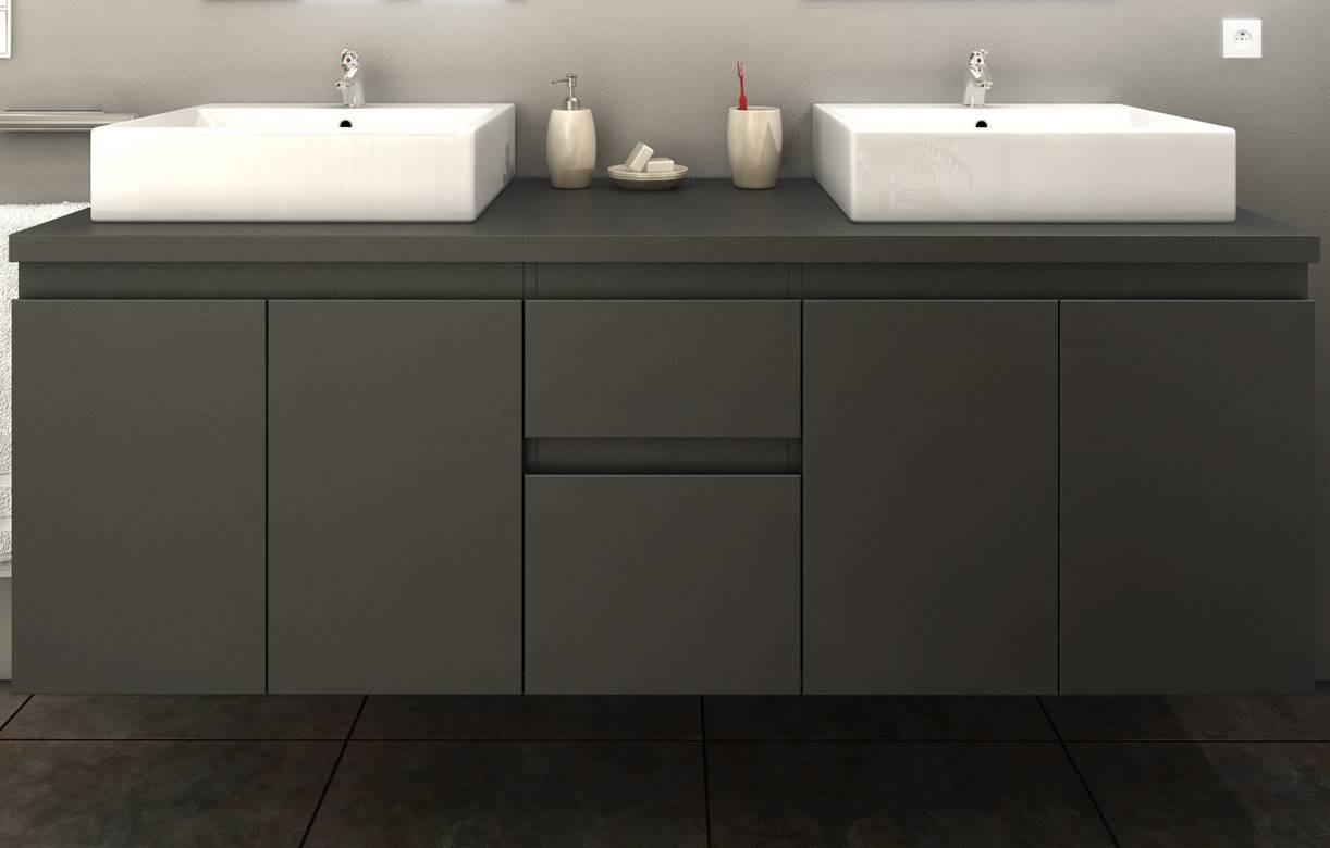 Meuble salle de bain gris mat 4 portes 2 tiroirs 2 vasques 2 miroirs