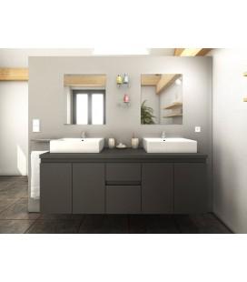 Meuble de salle de bain gris 4 portes 2 tiroirs 2 vasques 2 miroirs Cologne