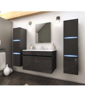 Ensemble de salle de bain gris 1 meuble avec vasque + 2 colonnes avec LED Lecce