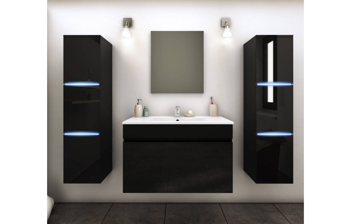 ensemble de salle de bain mural noir 1 meuble avec vasque 2 colonnes. Black Bedroom Furniture Sets. Home Design Ideas