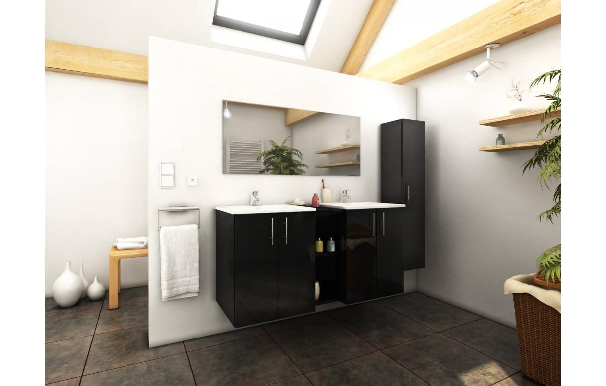 Ensemble de salle de bain noir miroir 1 meuble 2 vasques for Ensemble marylin meubles de salle de bain noir