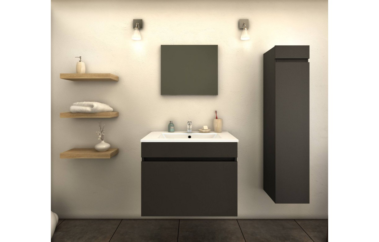 ensemble de salle de bain gris mat 1 meuble avec vasque 1 colonne. Black Bedroom Furniture Sets. Home Design Ideas