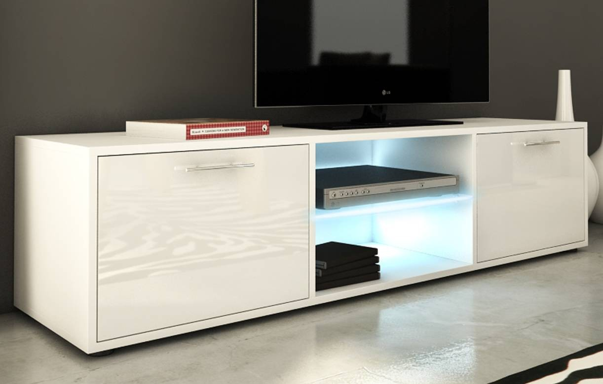 meuble banc tv design 150cm blanc brillant 2 portes et bande led. Black Bedroom Furniture Sets. Home Design Ideas