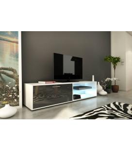Meuble TV design gris brillant 160cm avec 1 porte et bande led Kiara