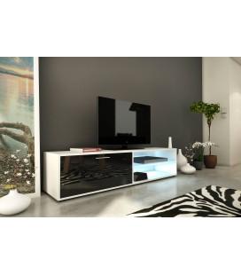 Meuble TV design noir 160cm avec 1 porte et bande led Kiara