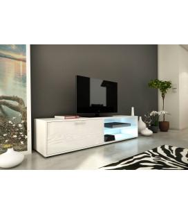 Meuble TV design blanc 160cm avec 1 porte et bande led Kiara