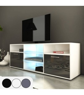 Meuble TV design 150cm avec niches et 2 portes H.53cm Kiara