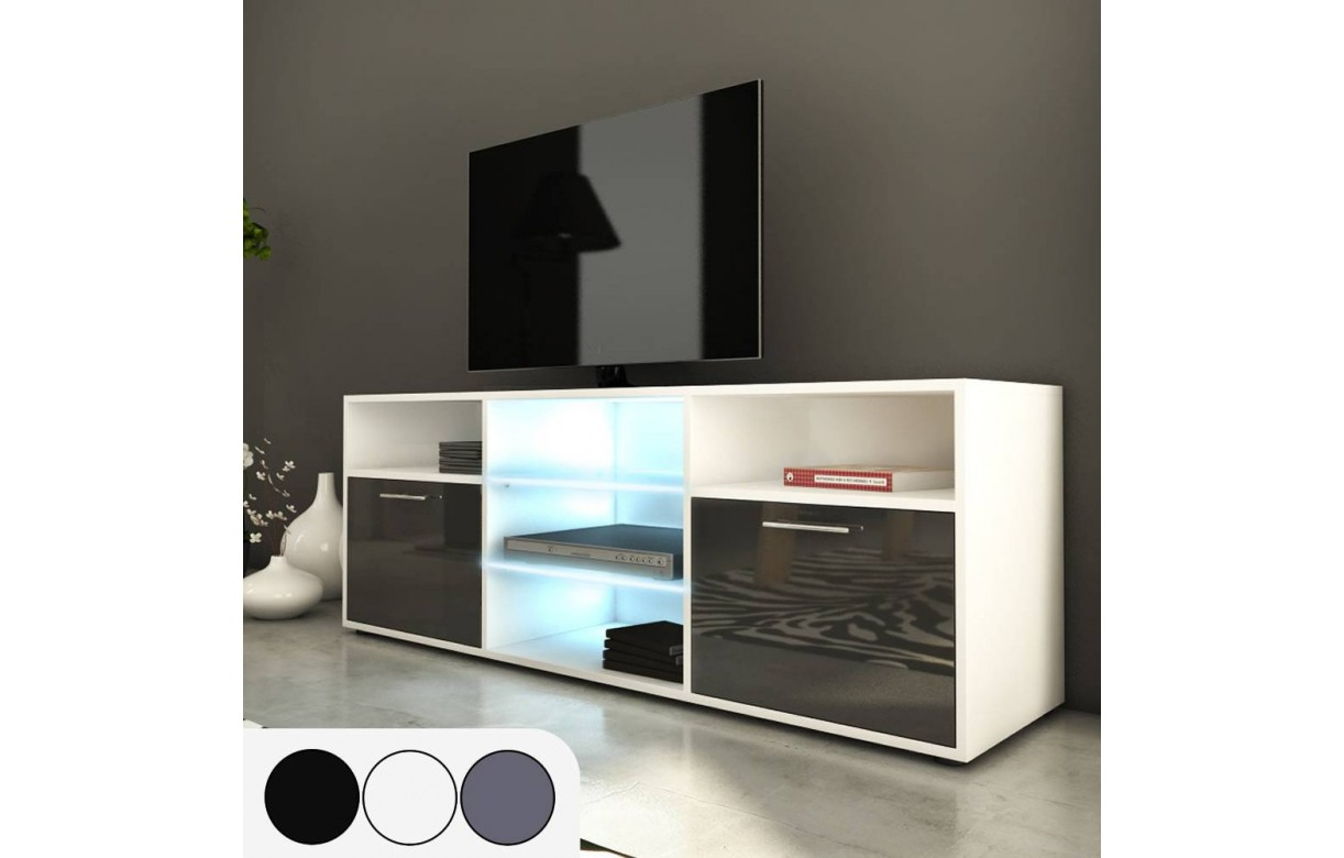 meuble tv design 150cm avec niches et 2 portes. Black Bedroom Furniture Sets. Home Design Ideas