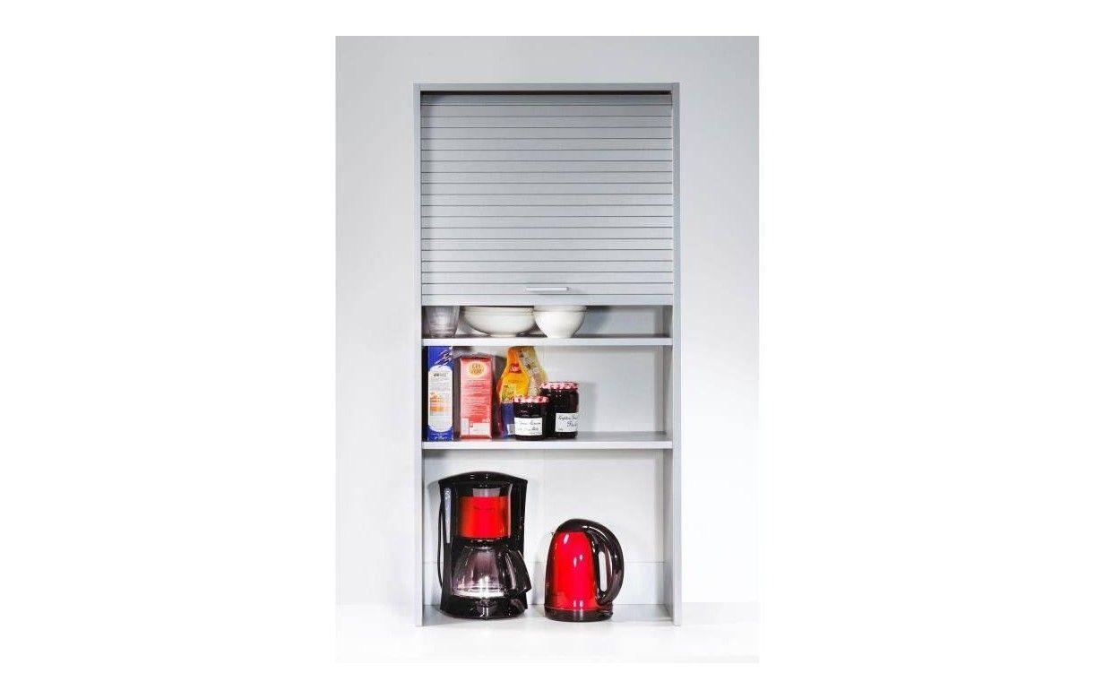 Rangement de cuisine aluminium avec rideau d roulant for Bureau 60 cm de large