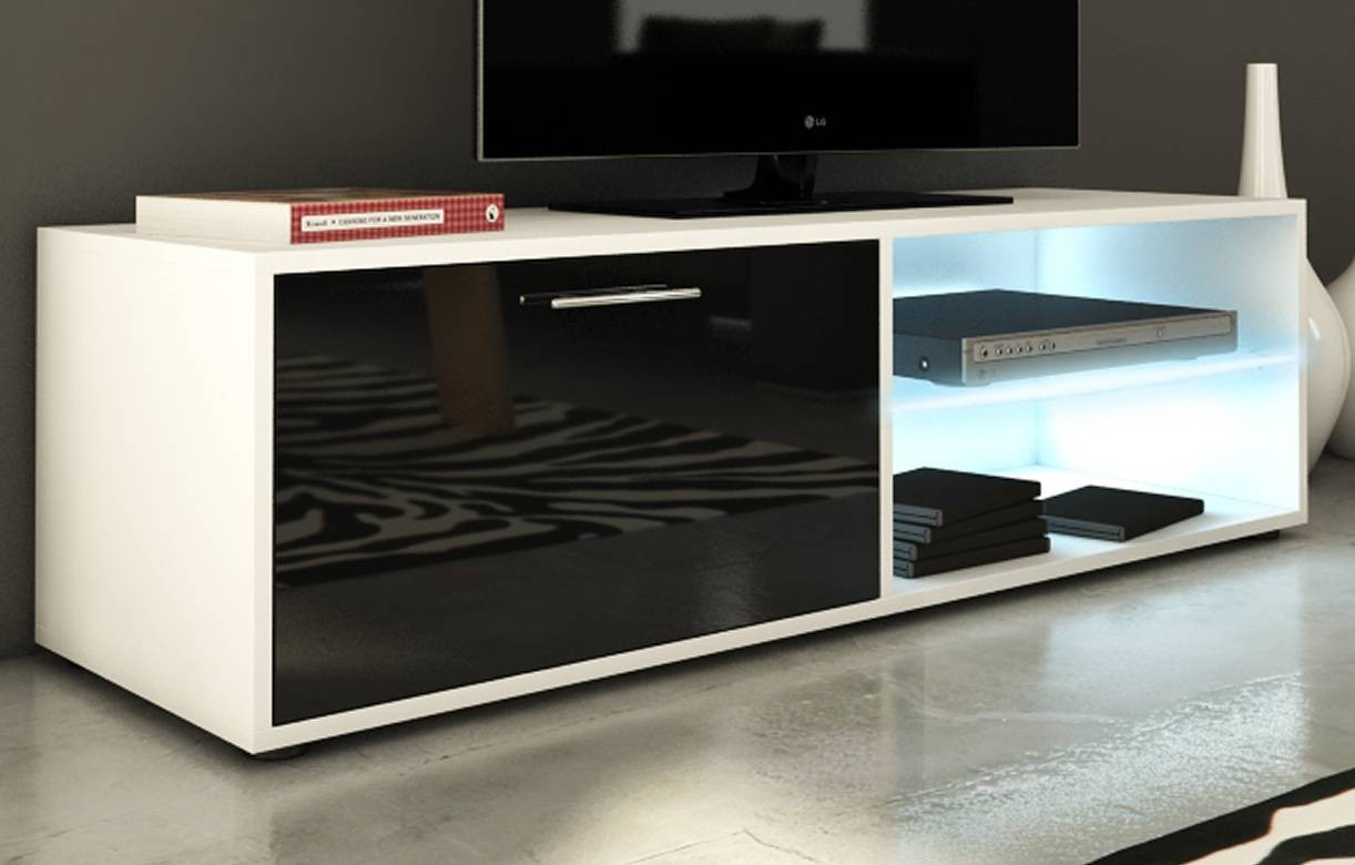 banc tv meuble design noir et blanc 120cm avec 1 porte et. Black Bedroom Furniture Sets. Home Design Ideas