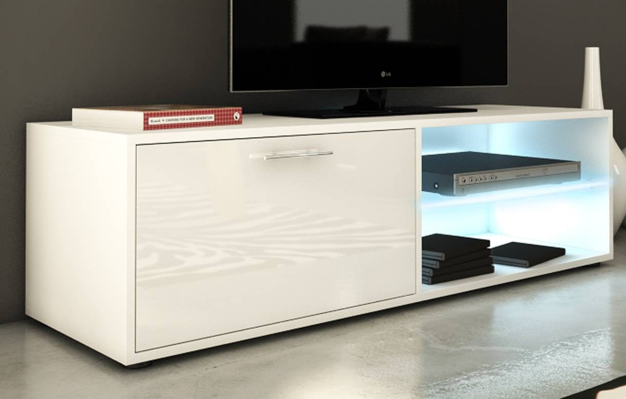 meuble banc tv blanc 120cm avec 1 porte et bande led. Black Bedroom Furniture Sets. Home Design Ideas