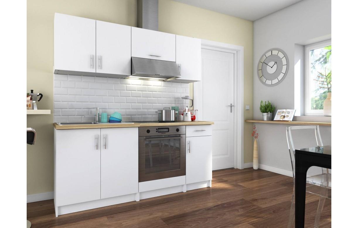 Cuisine compl te blanche avec plan de travail bois 180 cm maia for Cuisine complete blanche