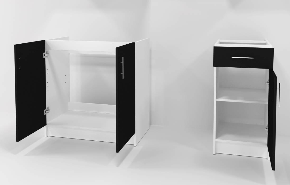 Ensemble meubles de cuisine noir pour studio 180 cm maria for Ensemble de meuble de cuisine