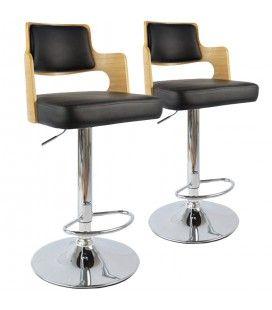 Chaises de bar bois et simili cuir Russel - Lot de 2