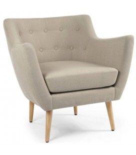 petit fauteuil style scandinave en tissu avec pieds bois. Black Bedroom Furniture Sets. Home Design Ideas