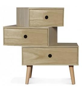 Chevet scandinave bois clair modulable 3 tiroirs Boreal