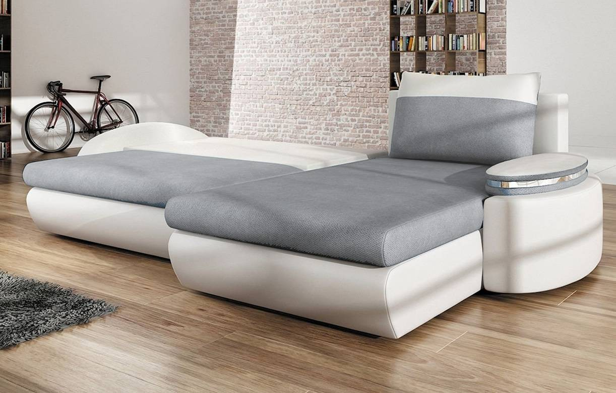 canap d 39 angle convertible gris et blanc en tissu et simili cuir. Black Bedroom Furniture Sets. Home Design Ideas