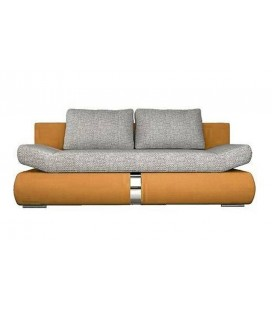 Canapé banquette convertible orange et tissu gris