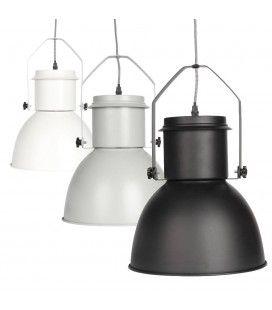 Suspension style industriel en métal noir gris ou blanc