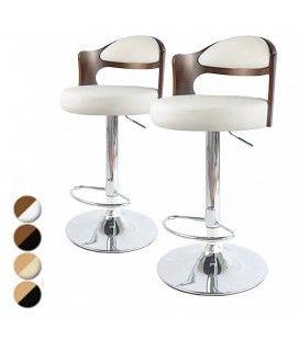 Lot de 2 chaises de bar pivotantes bicolore bimatière Ruby