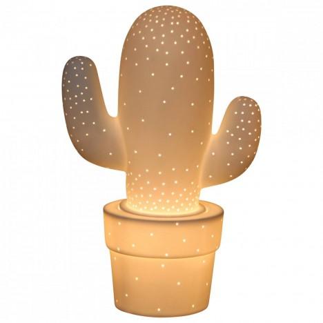 Lampe cactus décorative blanche design 30 cm