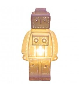 Lampe robot lego décorative blanche design 30 cm