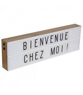 Boîte lumineuse déco murale bois 2 lignes + 130 lettres