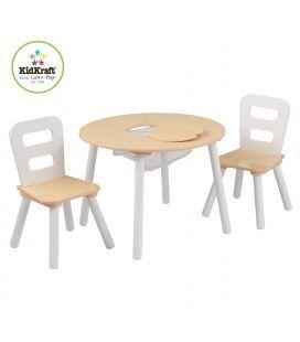 Table et 2 chaises pour petite fille en bois avec rangements pastel