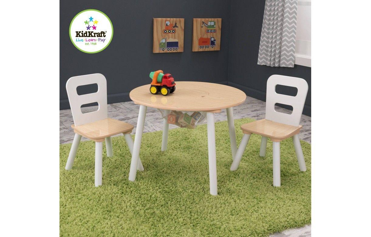 Table et 2 chaises enfant blanc et bois for Table et chaises pour enfants