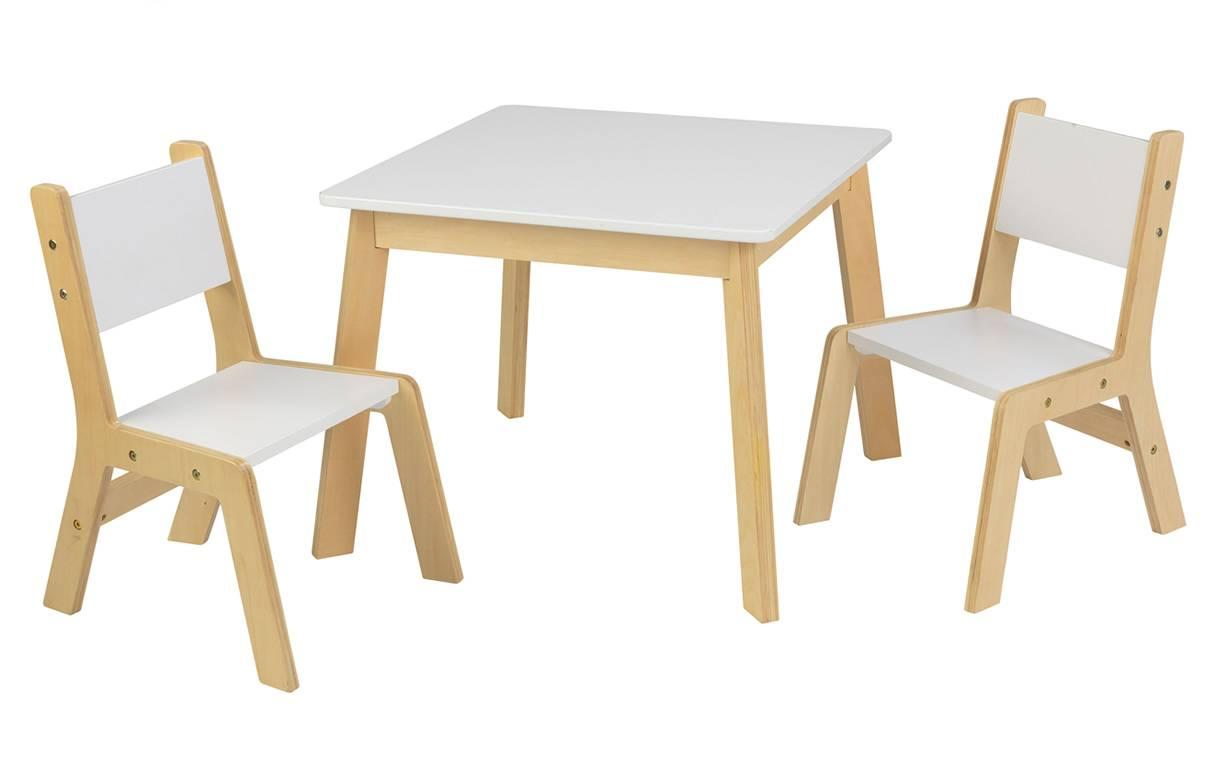 Table rectangulaire en bois clair chaises scandinaves et suspension - Table Et 2 Chaises Enfant Blanc Et Bois