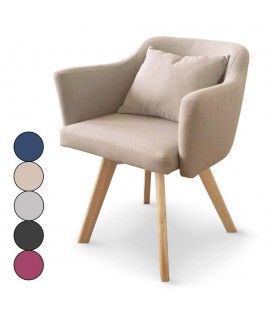 Chaise fauteuil scandinave en tissu Dantes