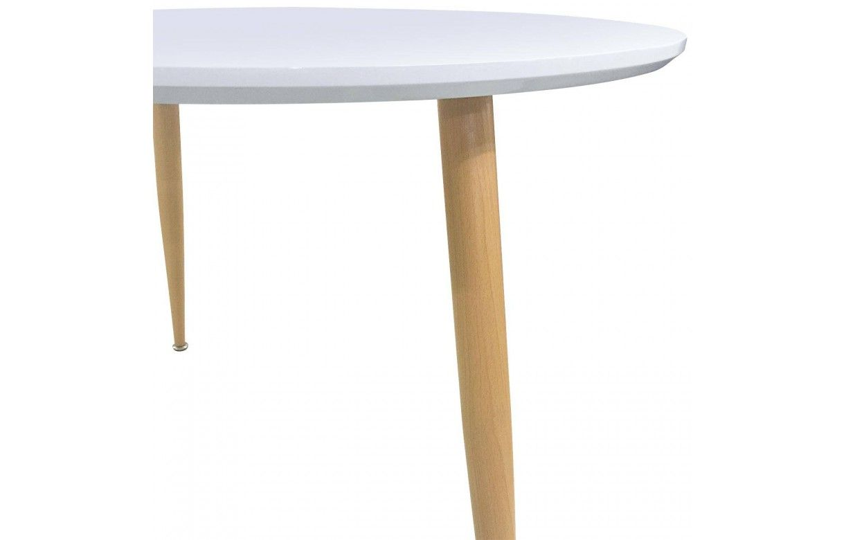 Table en bois clair maison design for Table basse blanche pied bois