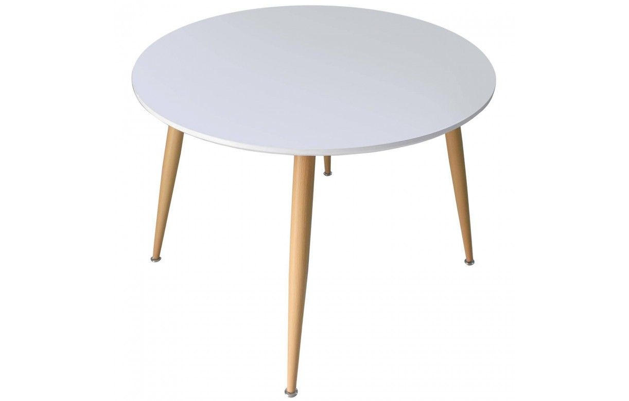 Table ronde avec rallonge blanche charming petite table for Table scandinave ronde rallonge