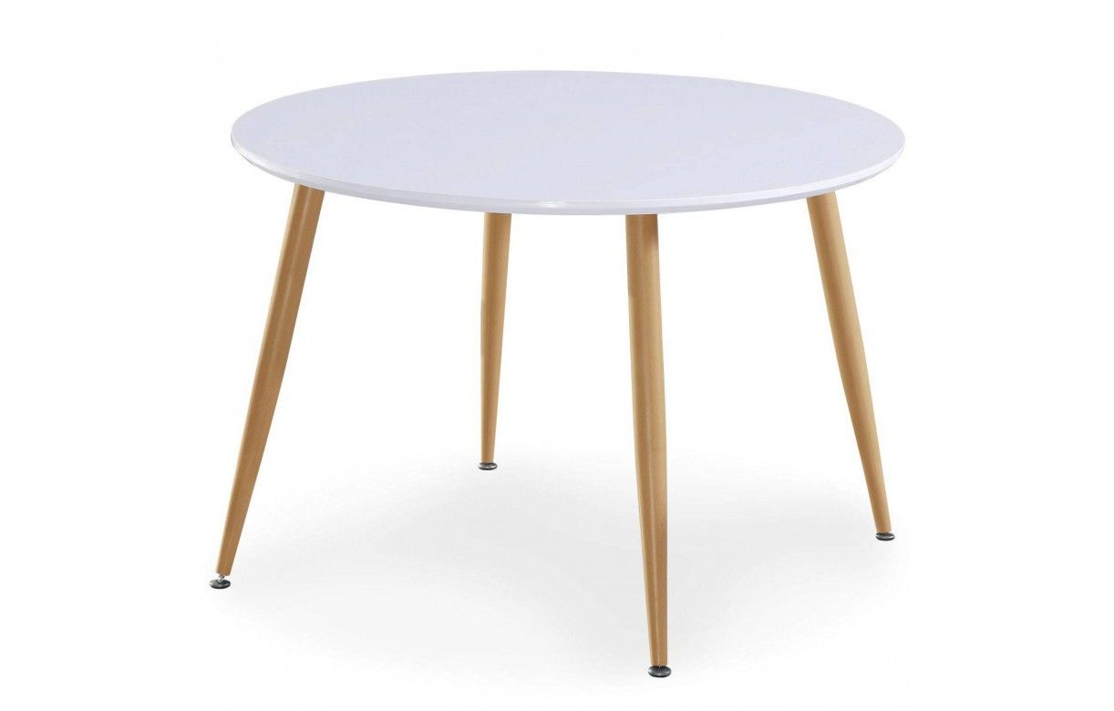 Table blanche pied bois for Table blanche