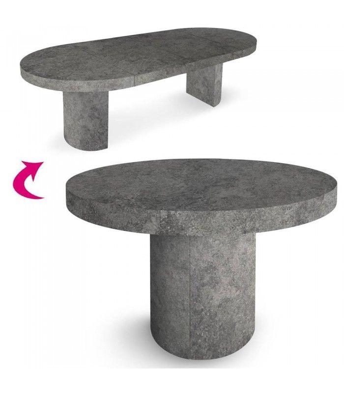 table extensible ronde effet b ton. Black Bedroom Furniture Sets. Home Design Ideas
