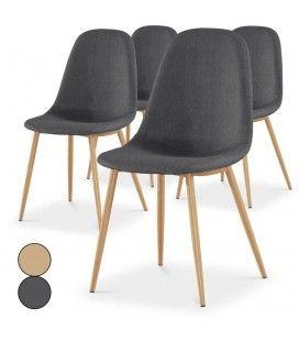 Lot de 4 chaises scandinaves beige ou gris foncé Gao