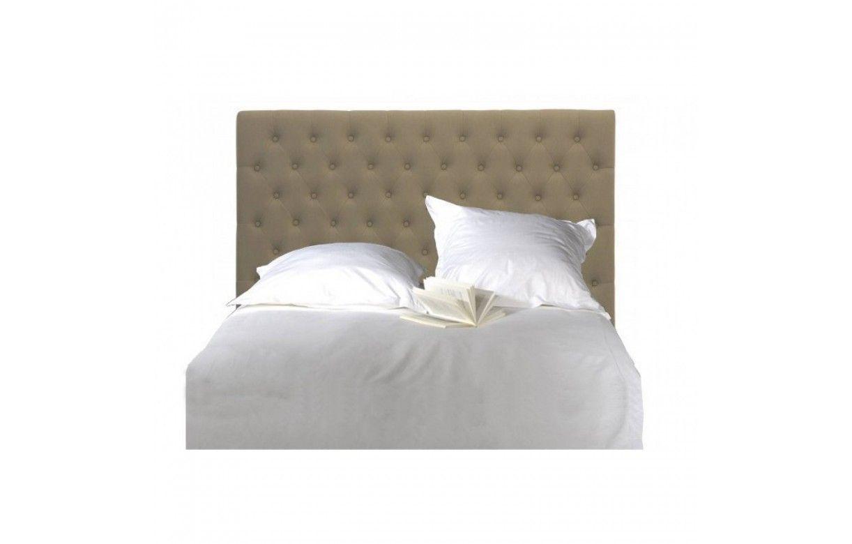T te de lit capitonn e en tissu lin gris fonc 160cm - Tete de lit en lin 160 ...