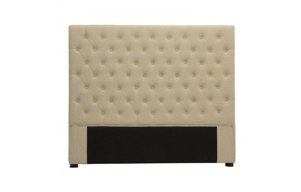 t te de lit capitonn e en tissu lin gris fonc 160cm. Black Bedroom Furniture Sets. Home Design Ideas