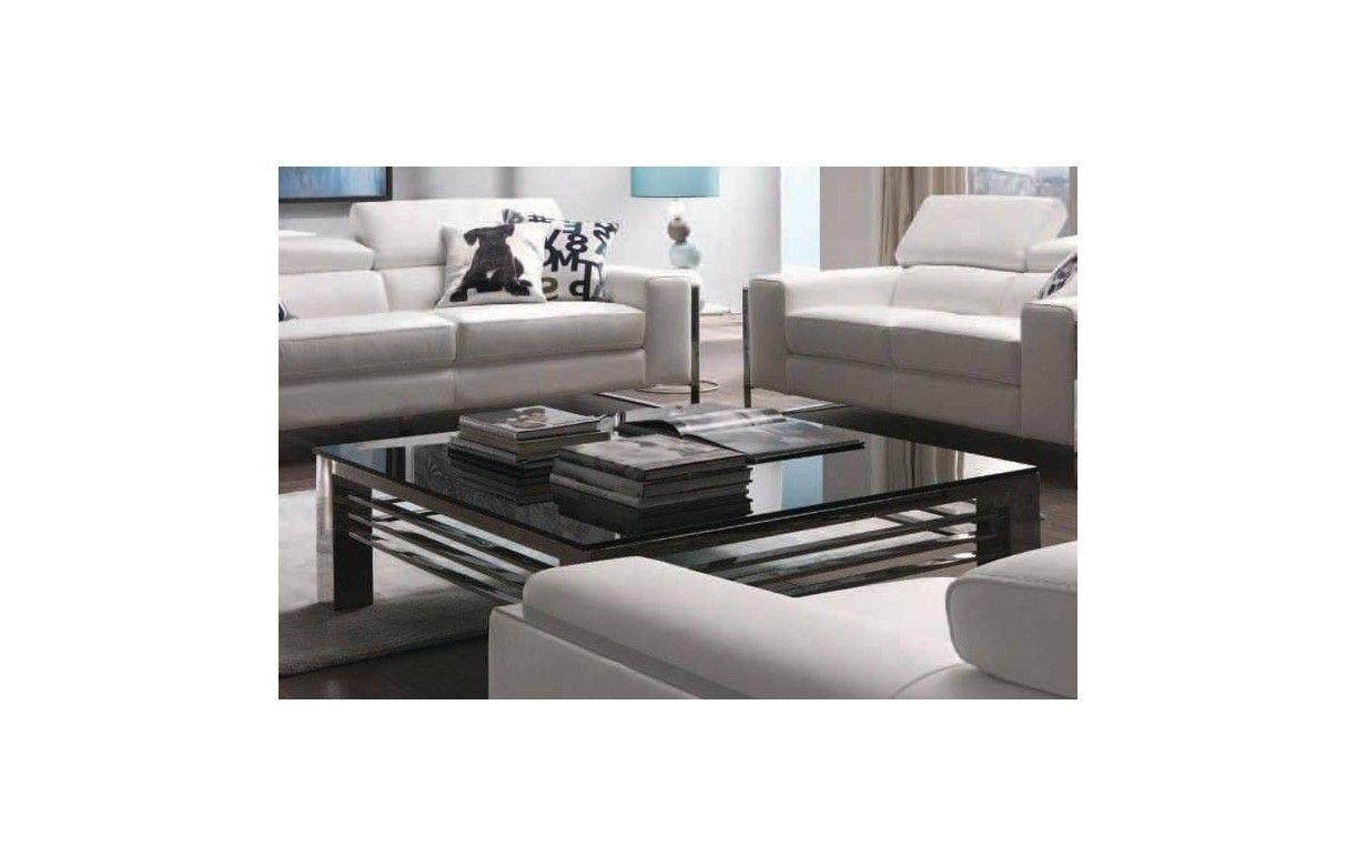 Table basse haut de gamme verre noir et acier inox miroir achille - Table basse en cuir et verre ...
