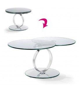 Table basse ronde extensible en verre trempé 12mm Brina