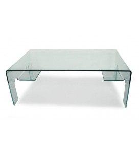 Table basse en verre 12mm design 2 tablettes de rangement Balyra