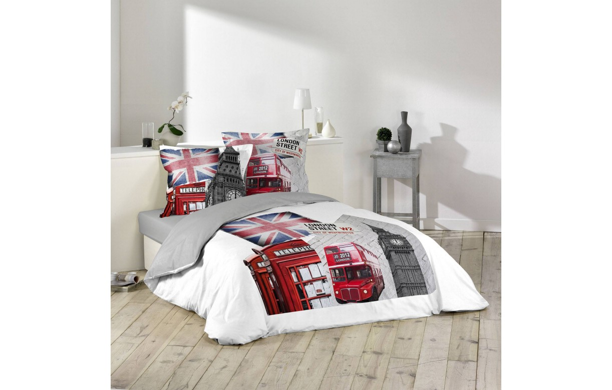 Housse de couette 220 x 240 cm 2 taies westminster for Housse couette 220 240