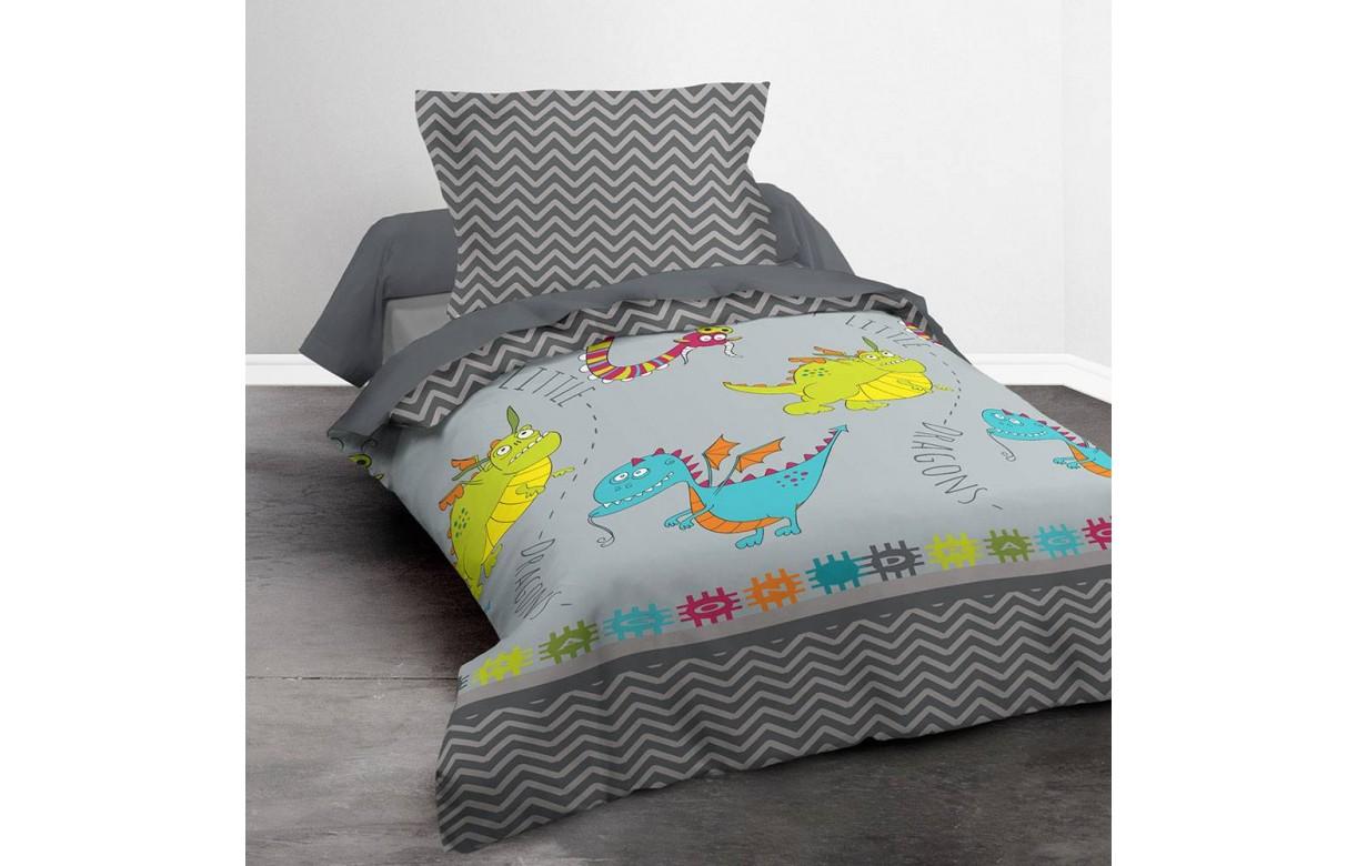 housse de couette 140 x 200 cm 1 taie dragons decome store. Black Bedroom Furniture Sets. Home Design Ideas
