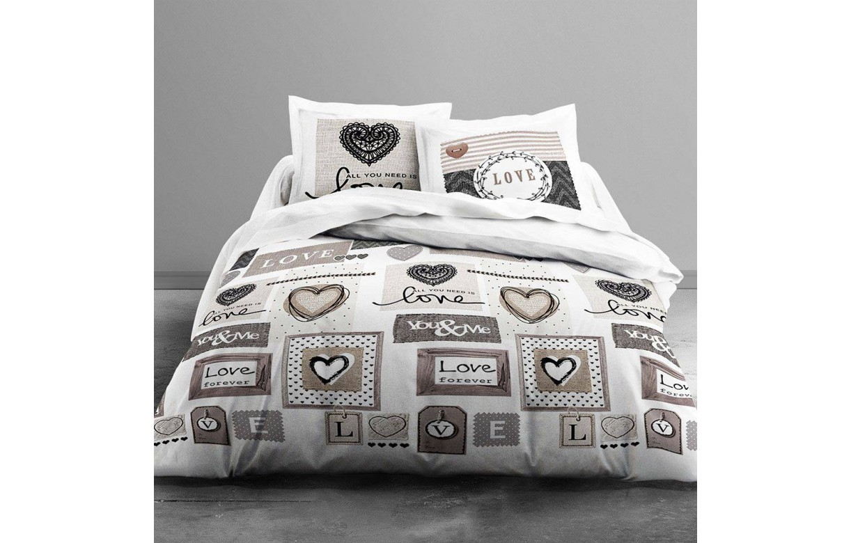 Housse de couette 220 x 240 cm 2 taies love forever for Housse couette 220 240