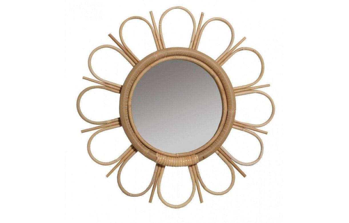Miroir en rotin naturel vintage en forme de fleur for Miroir rotin blanc