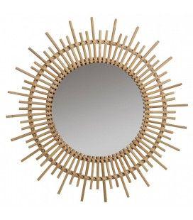 Grand miroir rond en rotin Soleil 80cm