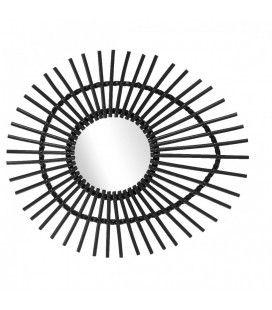 Miroir ovale en rotin noir laqué oeil Ellipse L.74cm
